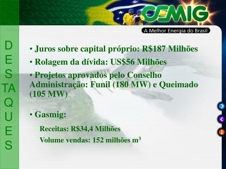 Juros sobre capital próprio: R$187 Milhões