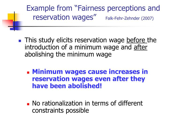 "Example from ""Fairness perceptions and reservation wages"""