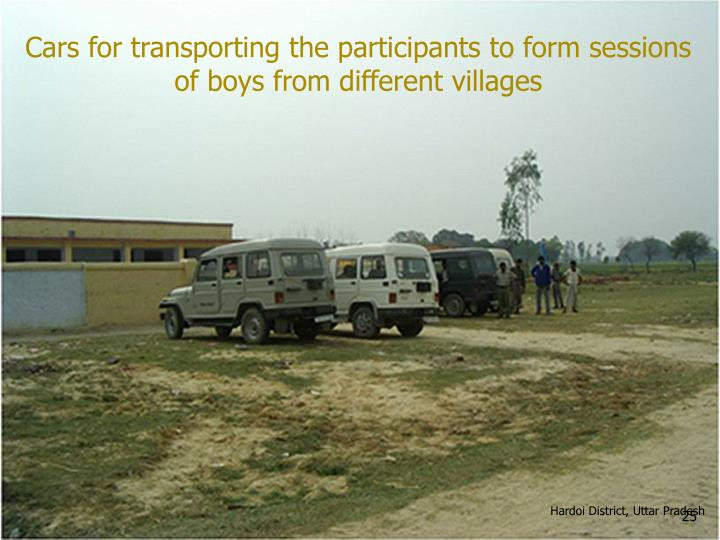 Cars for transporting the participants to form sessions of boys from different villages
