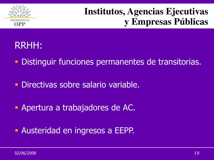 Institutos, Agencias Ejecutivas