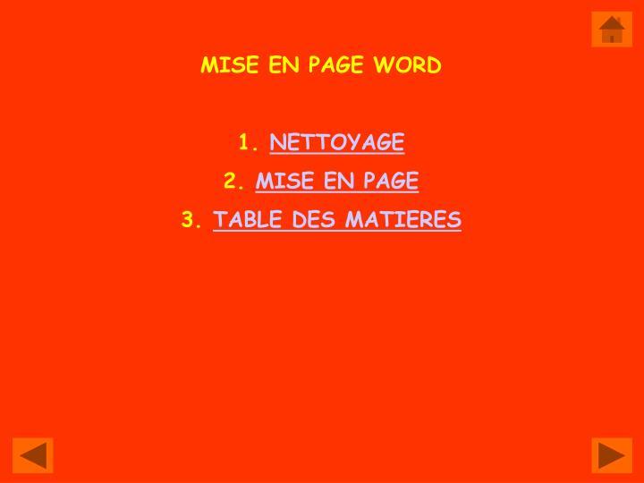 MISE EN PAGE WORD