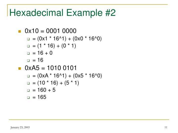 Hexadecimal Example #2