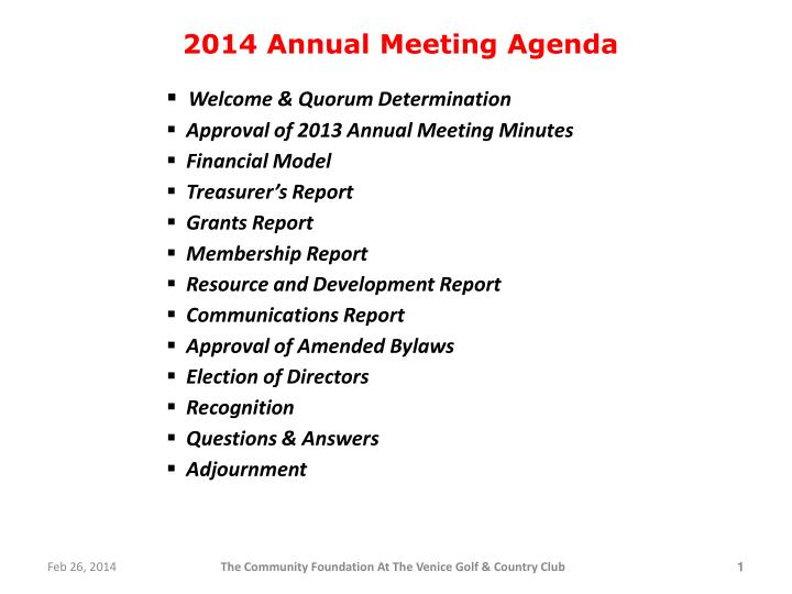 2014 annual meeting agenda