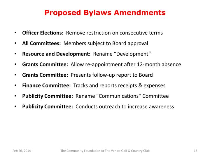 Proposed Bylaws Amendments