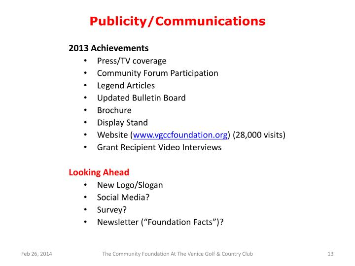 Publicity/Communications
