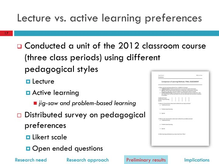 Lecture vs. active learning preferences