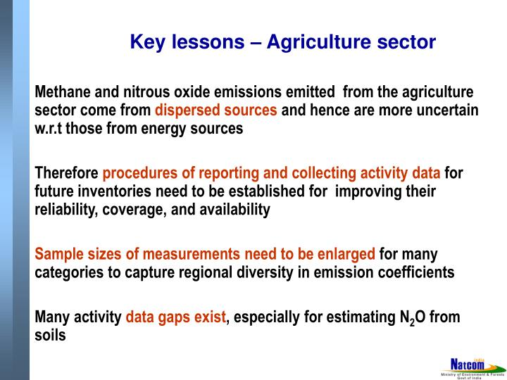 Key lessons – Agriculture sector