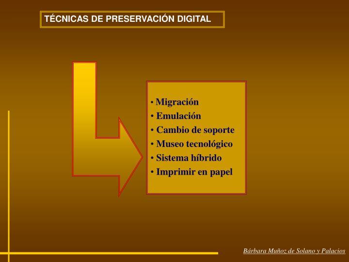 TÉCNICAS DE PRESERVACIÓN DIGITAL