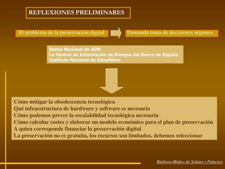 REFLEXIONES PRELIMINARES
