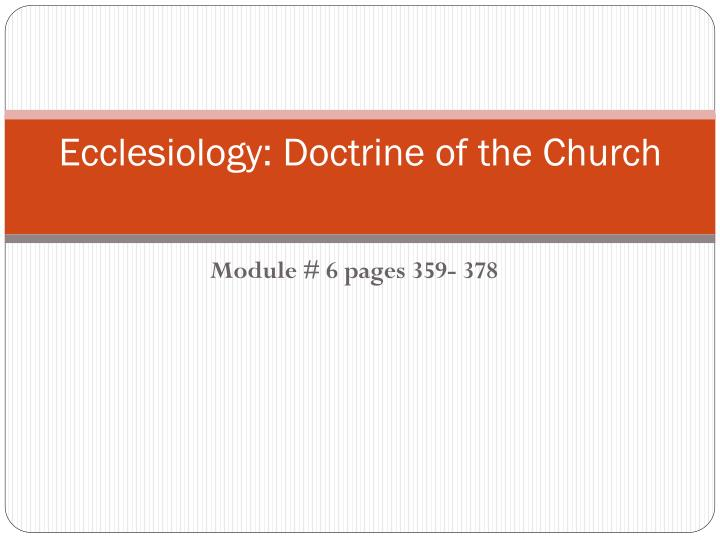 Ecclesiology doctrine of the church