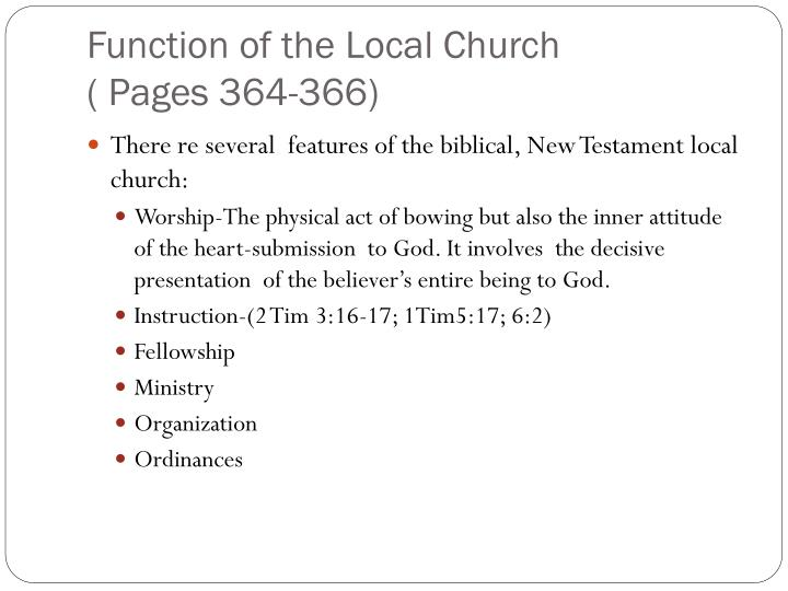 Function of the Local Church