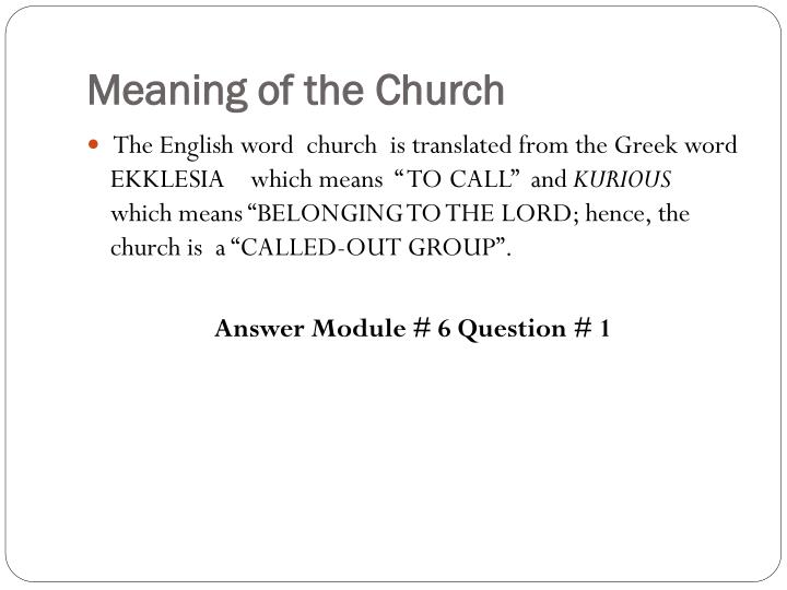 Meaning of the Church