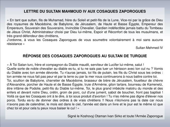 LETTRE DU SULTAN MAHMOUD IV AUX COSAQUES ZAPOROGUES