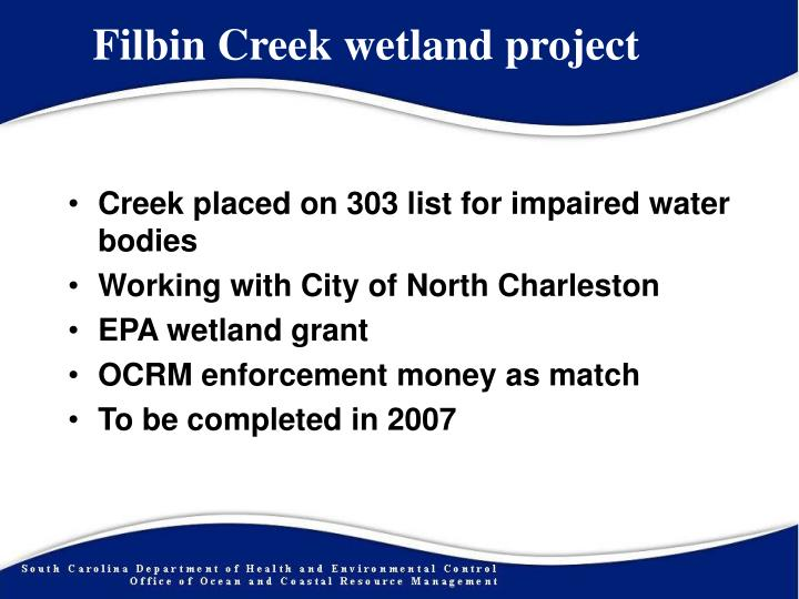 Filbin Creek wetland project
