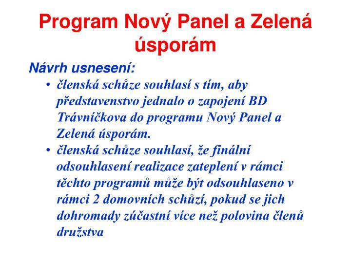 Program Nový Panel a Zelená úsporám
