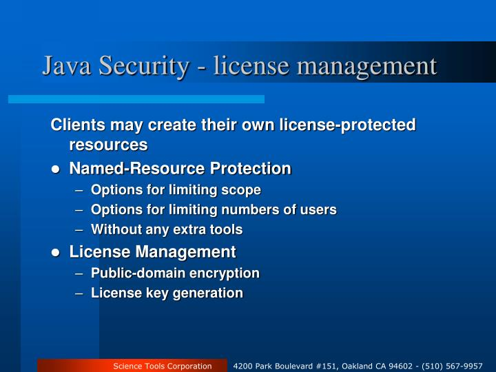 Java Security - license management