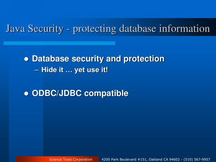 Java Security - protecting database information