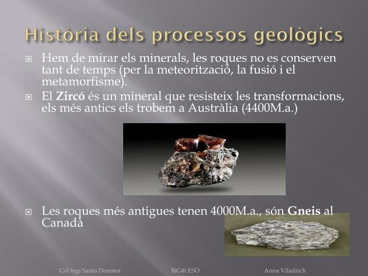 Història dels processos geològics