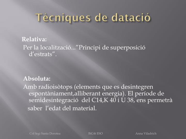Tècniques de datació