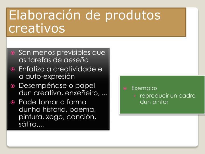 Elaboración de produtos creativos