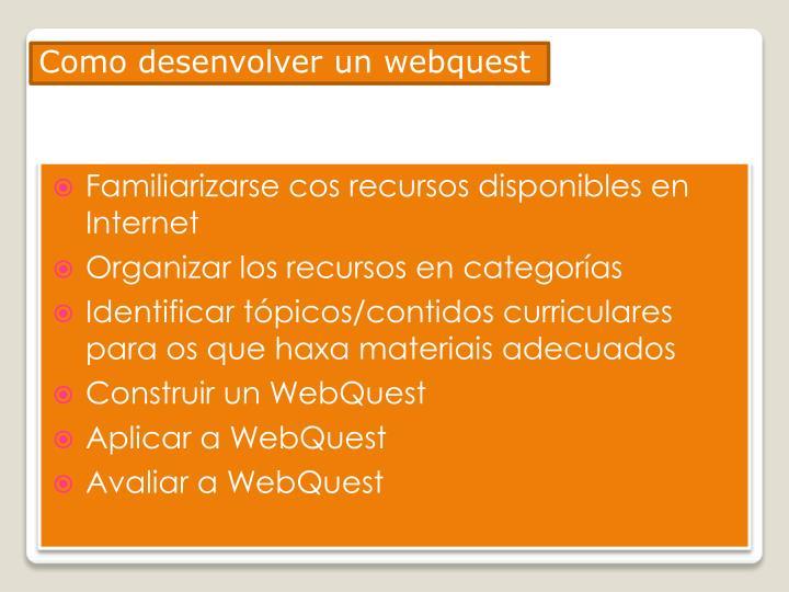 Como desenvolver un webquest