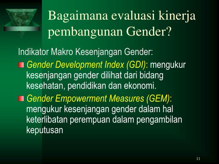 Bagaimana evaluasi kinerja pembangunan Gender?