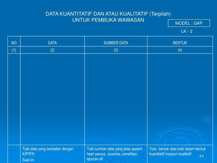 DATA KUANTITATIF DAN ATAU KUALITATIF (Terpilah)