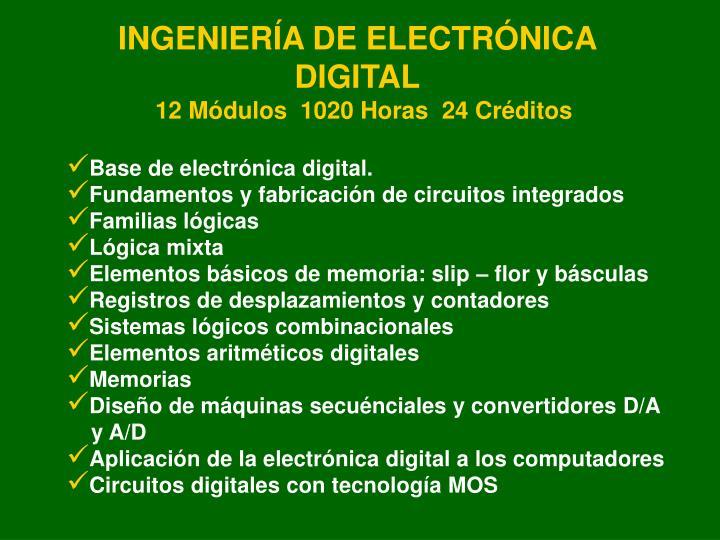 INGENIERÍA DE ELECTRÓNICA DIGITAL