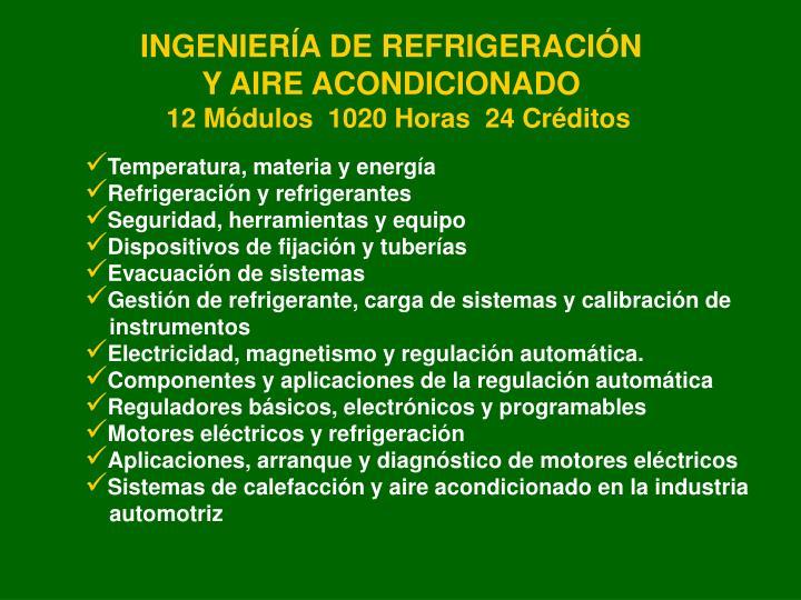 INGENIERÍA DE REFRIGERACIÓN Y AIRE ACONDICIONADO