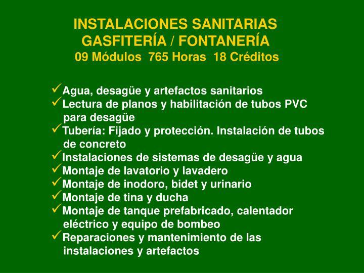 INSTALACIONES SANITARIAS GASFITERÍA / FONTANERÍA