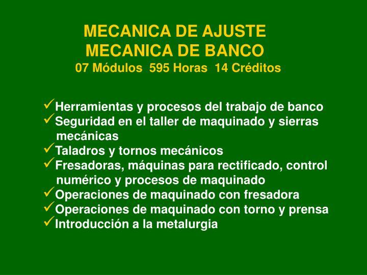 MECANICA DE AJUSTE