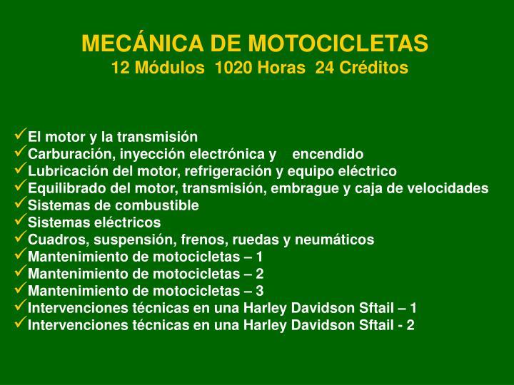 MECÁNICA DE MOTOCICLETAS