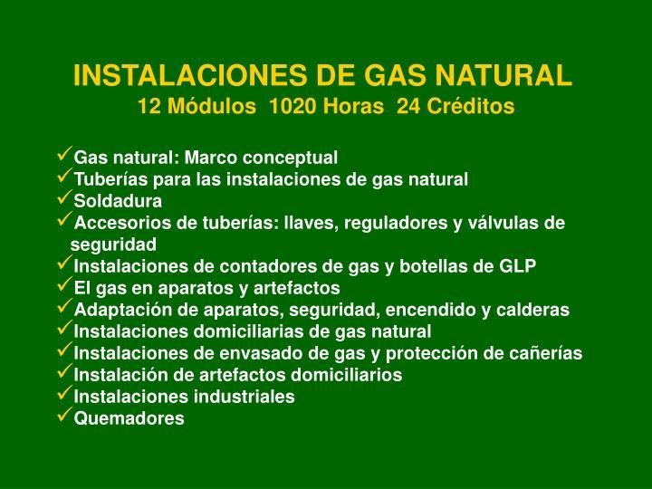 INSTALACIONES DE GAS NATURAL