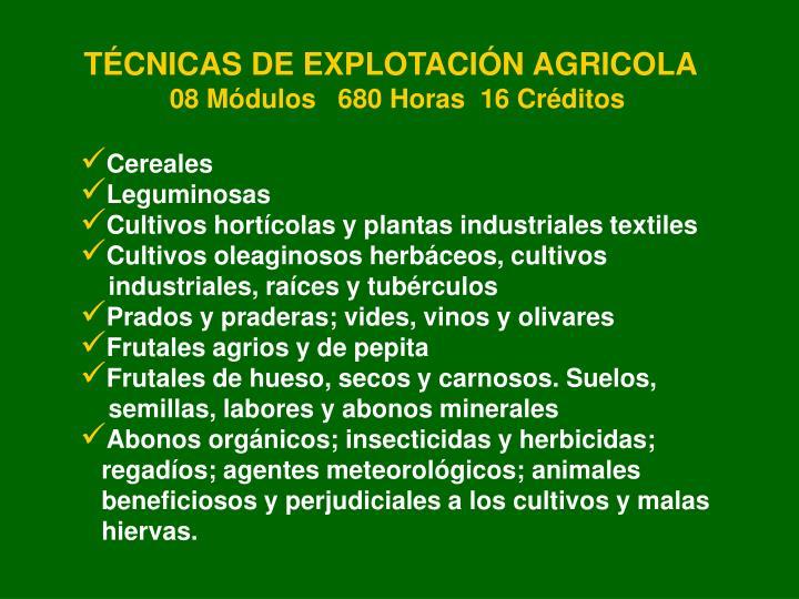 TÉCNICAS DE EXPLOTACIÓN AGRICOLA