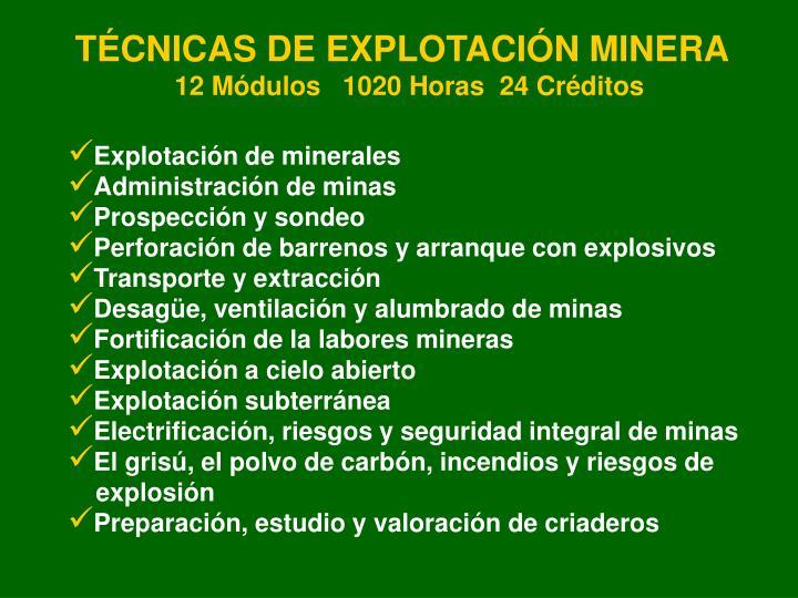 TÉCNICAS DE EXPLOTACIÓN MINERA
