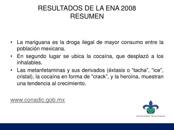RESULTADOS DE LA ENA 2008