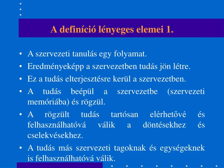 A definíció lényeges elemei 1.