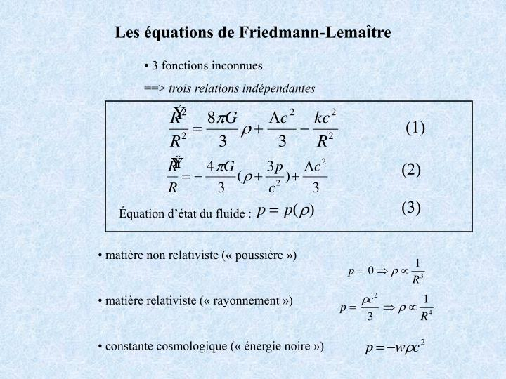 Les équations de Friedmann-Lema