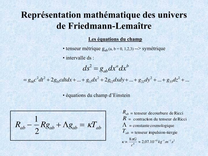 Représentation mathématique des univers de Friedmann-Lemaître