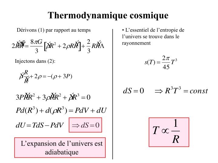• L'essentiel de l'entropie de l'univers se trouve dans le rayonnement
