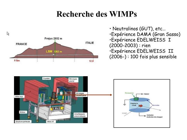 Recherche des WIMPs