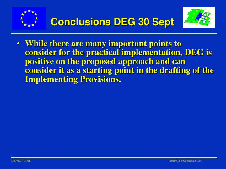 Conclusions DEG 30 Sept