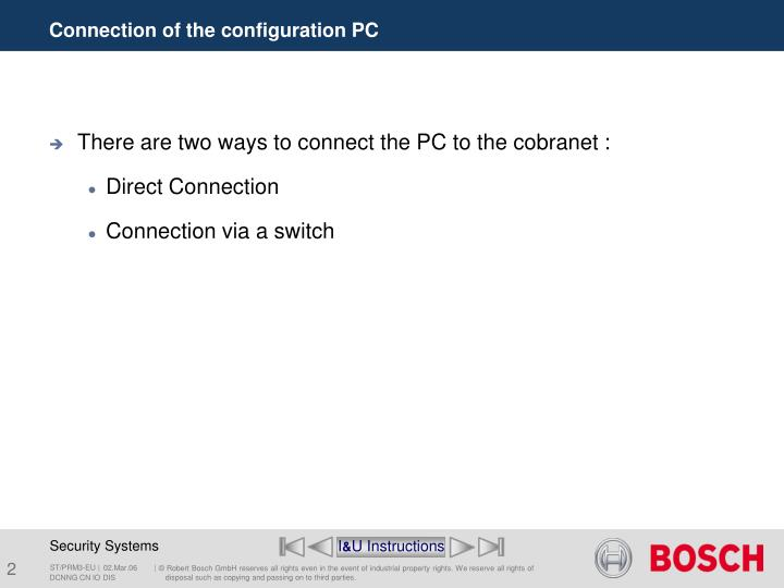 Connection of the configuration pc