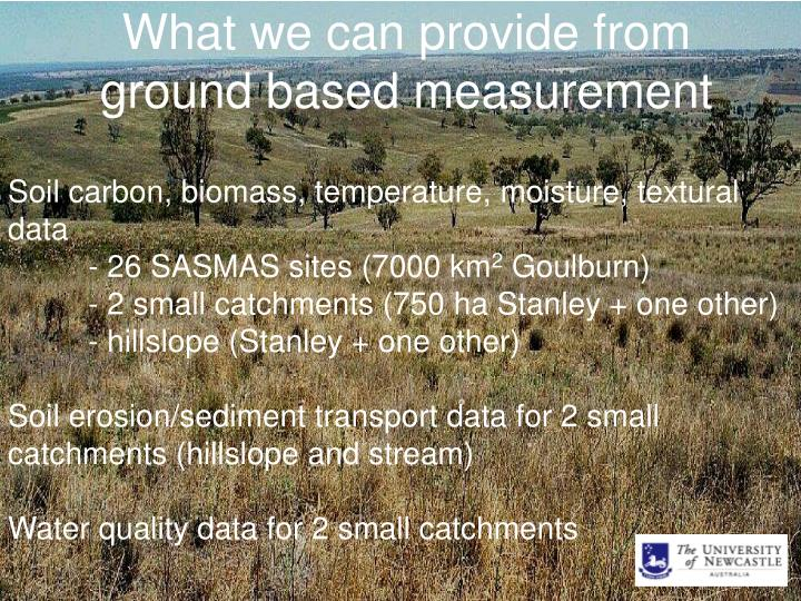 What we can provide from ground based measurement