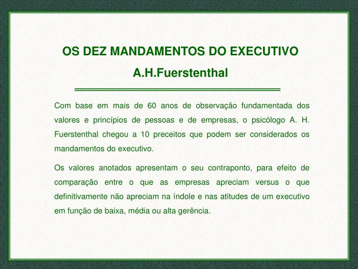 OS DEZ MANDAMENTOS DO EXECUTIVO