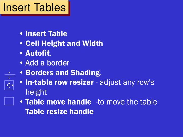 Insert Tables