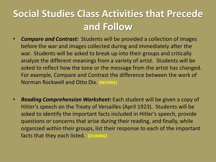 Social Studies Class Activities that Precede and Follow