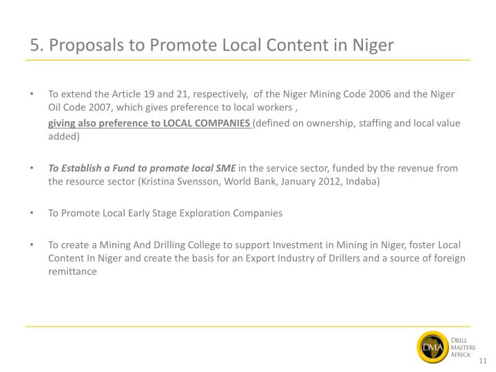 5. Proposals to Promote Local Content in Niger