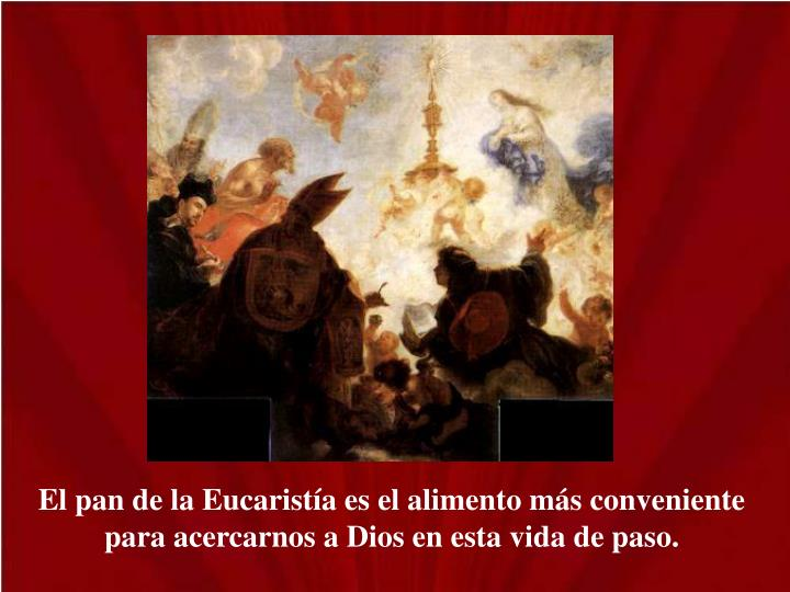 El pan de la Eucaristía es el alimento más conveniente para acercarnos a Dios en esta vida de paso.