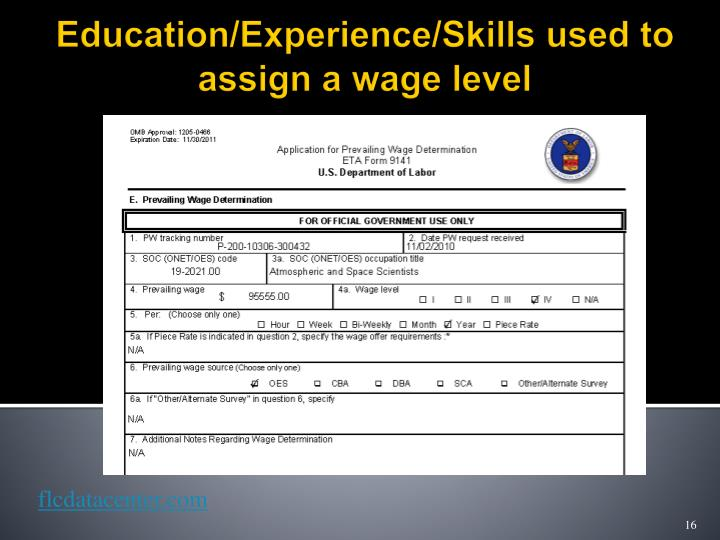 Education/Experience/Skills used to assign a wage level